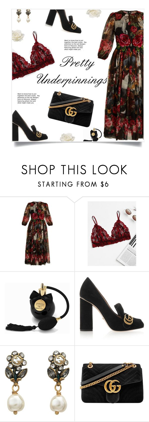 """""""Gucci Glam"""" by yummymummystyle ❤ liked on Polyvore featuring Dolce&Gabbana, Bijoux Indiscrets, Gucci, Allstate Floral, floral, gucci, blockheels, springwedding and prettyunderpinnings"""