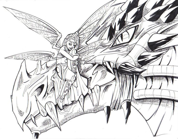 fairy and dragon coloring page - Coloring Pages Dragons Fairies
