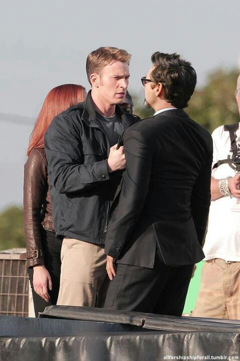 Robert Downey, Jr. on the Set of Captain America: The Winter Soldier. I guess this is kinda spoiler-rific.