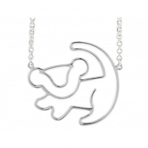 Disney Couture Platinum Plated Simba Silhouette Necklace