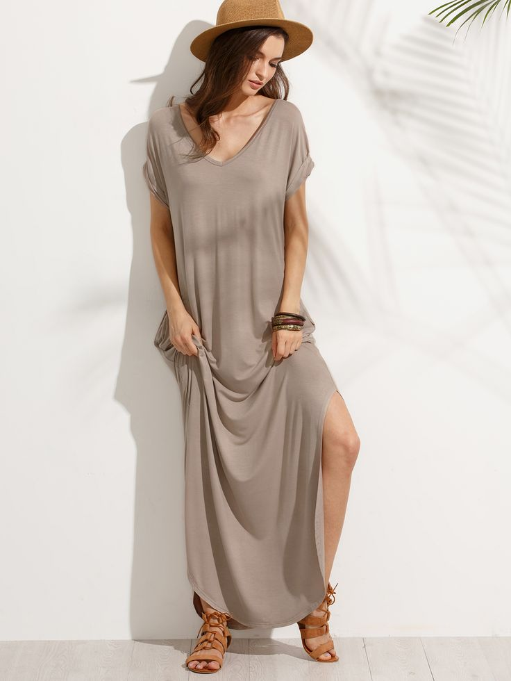Robe longue fendu col V avec poches - marron clair -French SheIn(Sheinside)