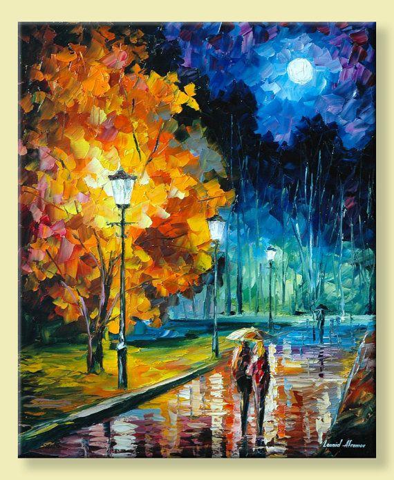 Romantische nacht Blue Moon Wall Art. Limited door AfremovArtStudio