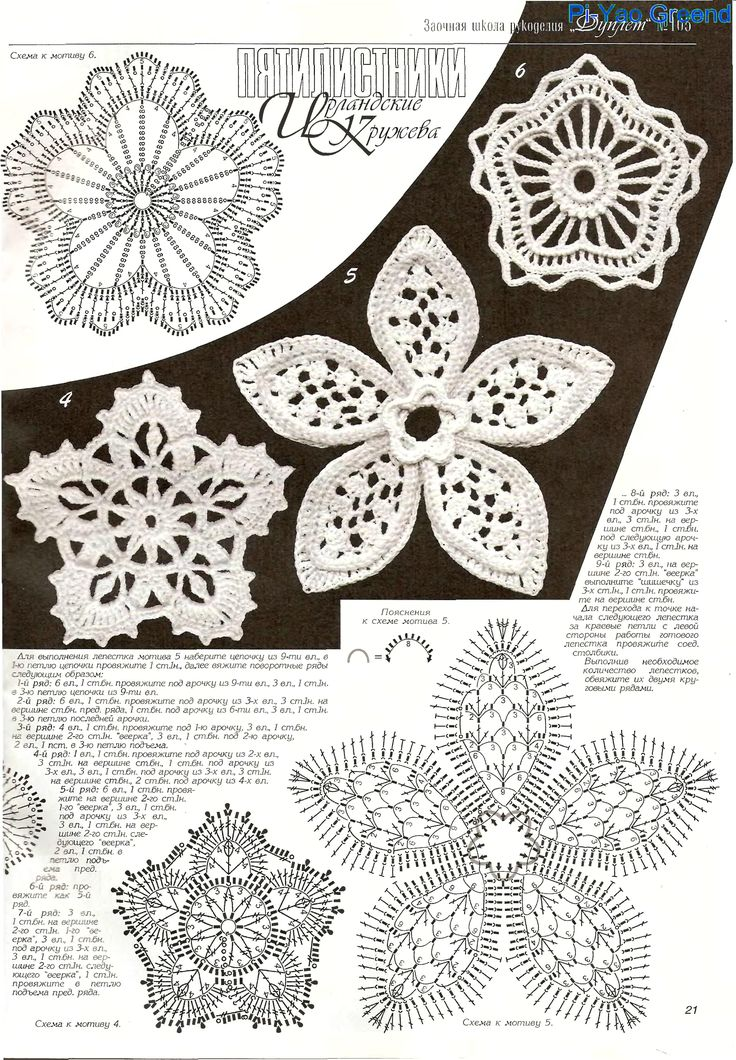 Crochet flower diagram - Мотивы ирландского кружева