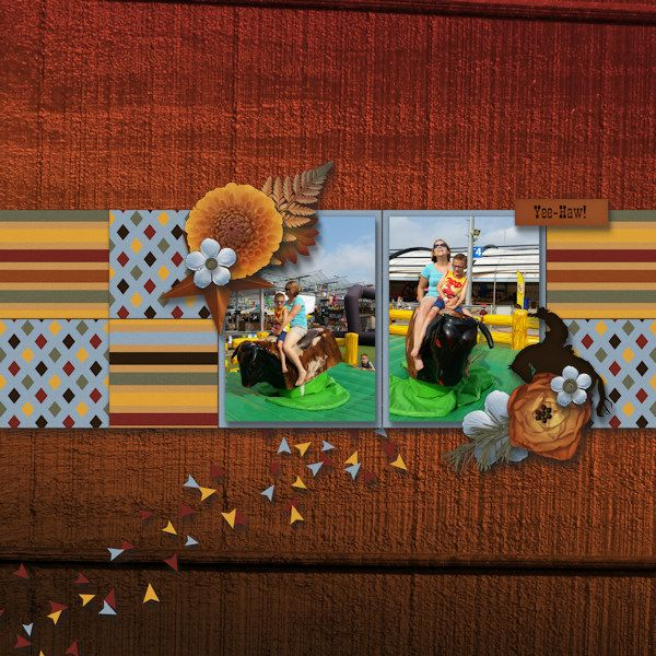 Yee-Haw! - Digital Scrapbooking Layout I created using At the Frontier kit and…