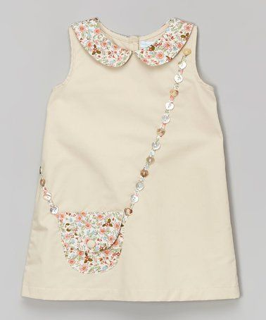 Take a look at this Beige Floral Purse A-Line Dress - Infant & Toddler on zulily today!