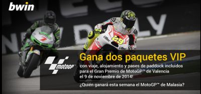 bwin gana dos packs vip GP Valencia Motogp 25 octubre