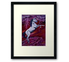 Framed Print, Horse, painting, whimsical,sky,equine,equestrian,animal,wild,wildlife,stallion,motion,movement,action,colorful,red,purple,vivid,colors,standing,upright,on two legs,fantasy,fun,fancy,figurative,unique,artistic,beautiful,cool,awesome,decor,contemporary,modern,virtual,deviant,unique,fine,art,oil,wall art,awesome,cool,image,picture,artwork,for sale,redbubble
