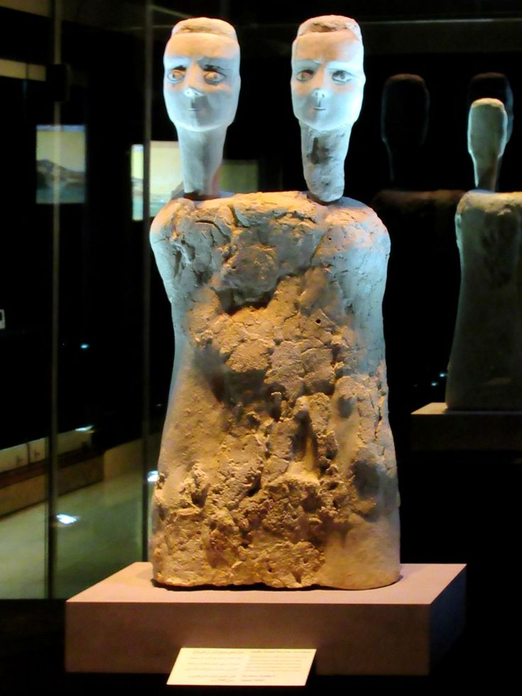 This double-headed bust from Ayn Ghazal on display in the Jordan Museum at Amman was made 9,500 years ago. Dating from the pre-pottery Neolithic B period, it is considered one of the oldest large-scale statues in the world.