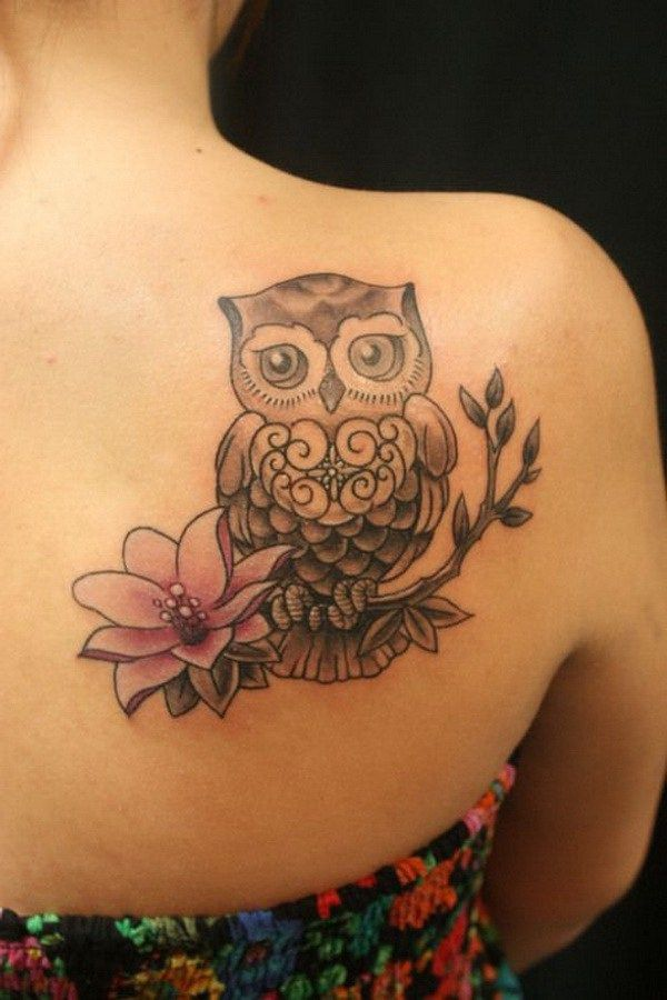 Lotus and Owl Tattoo on Upper Side Back. More via http://forcreativejuice.com/attractive-owl-tattoo-ideas/