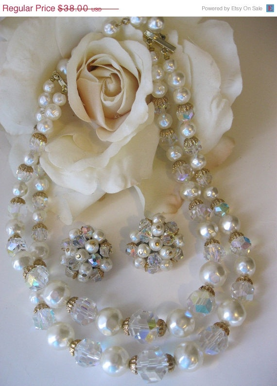 Vintage Laguna Pearls Amp Clear Crystal Necklace Earrings