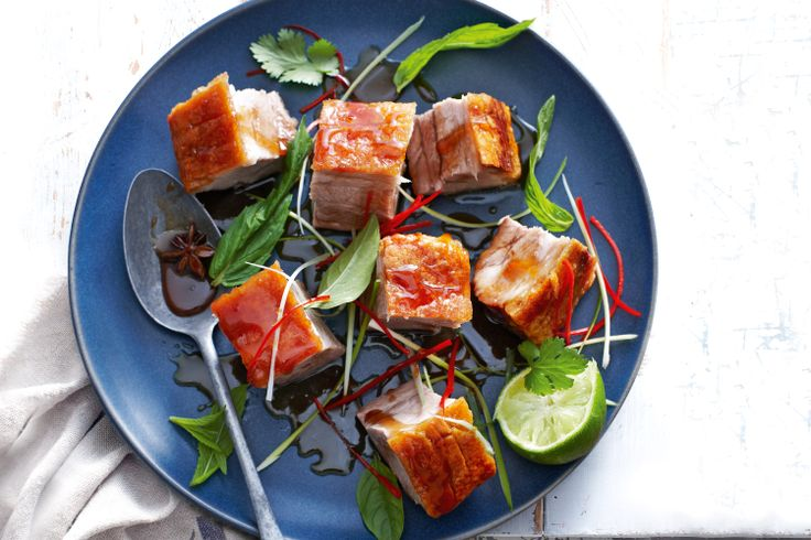 Pork belly with lime and caramel dressing  http://www.taste.com.au/recipes/26038/pork+belly+with+caramel+dressing