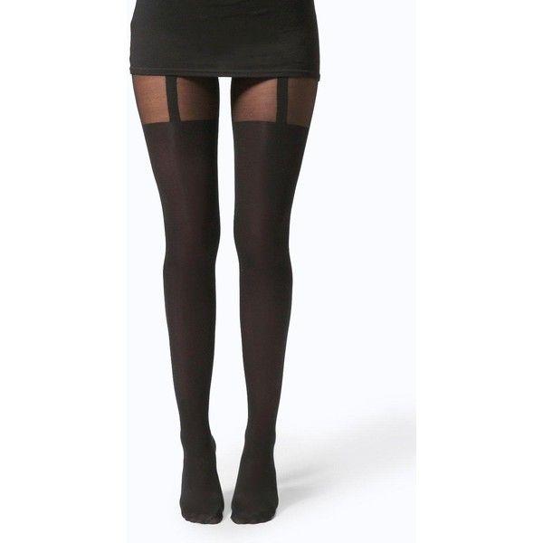 Boohoo Night Hannah Mock Suspender Tights ($14) ❤ liked on Polyvore featuring intimates, hosiery, tights, legs, socks, black and suspender tights