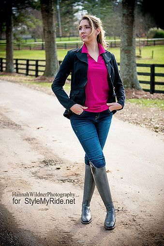 """We havent seen another coat like 2KGrey's beautiful pleated """"Harley"""" Dressage coat anywhere else on the equestrian market! It features a criss-cross lace up panel on the back, along with expertly executed pleats decorating the trim of the coat. It looks phenomnal buttoned up for competition, whilst being versatile enough to top off a casual look with 2KGrey's Wow Patch Jean breeches. Cherie Huey models the casual take shown below. @SMRequestrian stylemyride.net"""