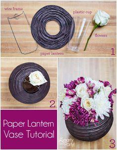 DIY Paper Lantern Vase Centerpiece | SmartyHadAParty.com