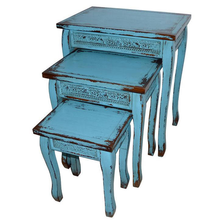 Turquoise Blue Wooden Distressed Side Accent Table Large