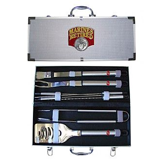 Siskiyou American Heroes Unites States Marines 'Retired' 8-Piece BBQ Set with Hard Case