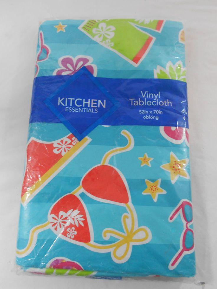 Kitchen Essentials Summer Swimsuits Vinyl Tablecloth 52 X 70 Oblong Blue  Striped