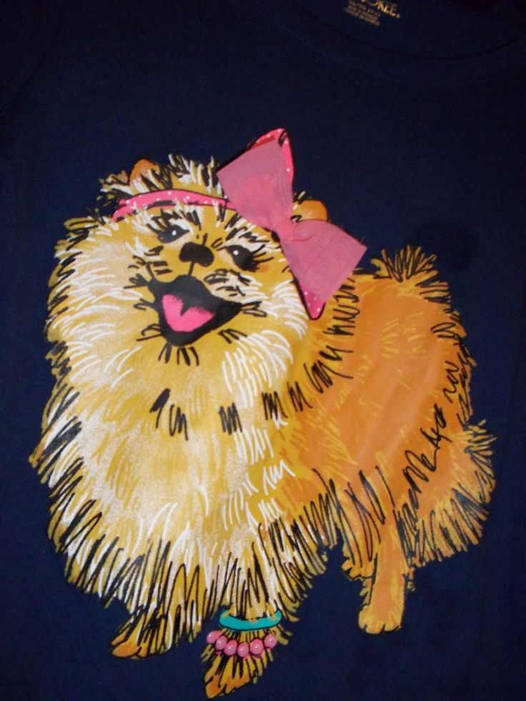 Girls Dark Blue Pomeranian Dog Long Sleeved T-Shirt Cherokee XL Ribbon #Cherokee