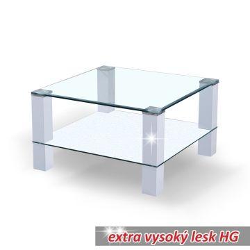 Konferenční stolek REMUS skleněný / bílý