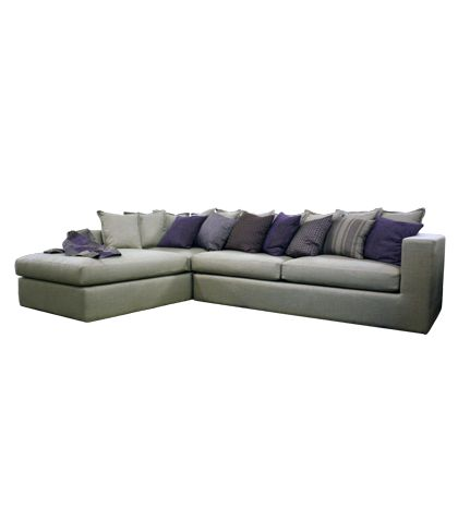 Eclectic L-Shape Sofa Linen Gray L.3.2 x W.2.20 x H.65 MH SOL 01 Designed by Mona Hussein
