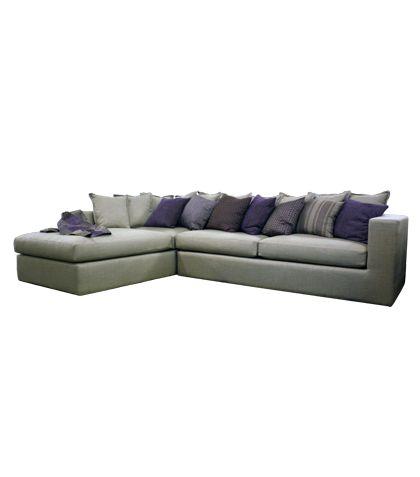 Eclectic L-Shape Sofa Linen Gray L.3.2 x W.2.20 x H.65 MH SOL 01 Designed by Mona Hussein