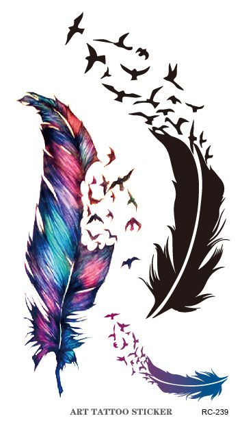 New Flash Tattoo Sticker Colorful Geese Feathers Pattern Body Art Temporary Fake Tattoo Stickers Waterproof Free Shipping