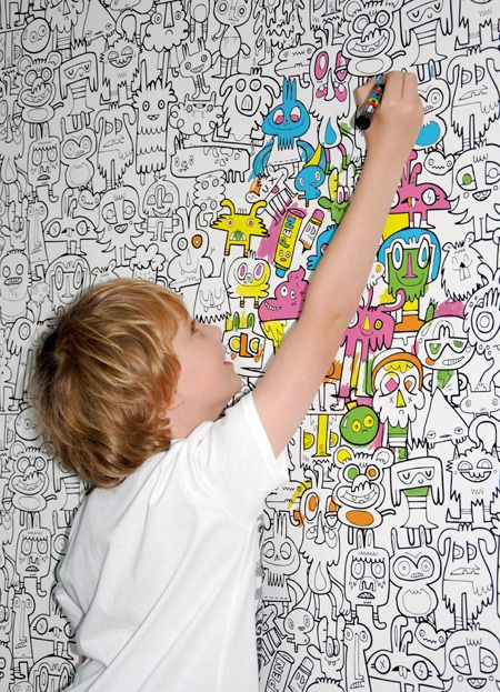 Removable, color-able wallpaper?! How fun would this be for a kid's room? Go ahead, let them draw on the walls.