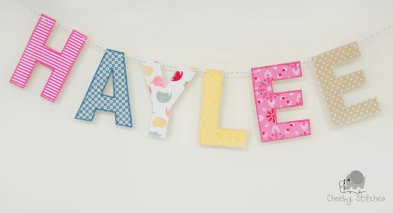 Fabric Name Garland – Name Banner – Name Garland - Name Bunting – Name Décor - Fabric Letters on Baker's Twine
