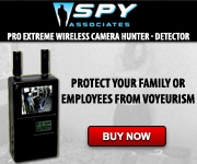 Wireless camera detector...    PROTECT YOURSELF AND YOUR LOVED ONES! The Pro Extreme Wireless Camera Hunter is a Wireless Camera Detector that actually Sees what the Camera sees. The Wireless Camera Hunter Locks Onto Any Wireless  Video Camera    And Displays The Transmission On It's Built-In Screen  - - Women Now can Also - -  Stop Those Hidden Cameras!