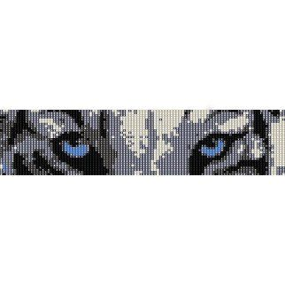 Snow Tigers Eyes Loom Beading Pattern For Cuff Bracelet