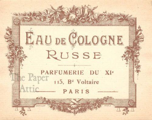 Antique-Vintage-French-Paris-Perfume-Label-Eau-de-Cologne-Russe