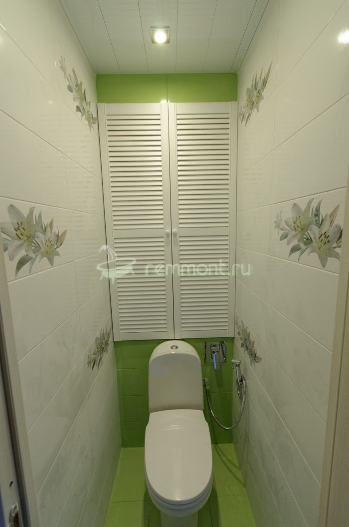 Ремонт раздельной ванной комнаты и туалета Imperia: Бело-зеленая плитка в туалете, Centro Collina декор