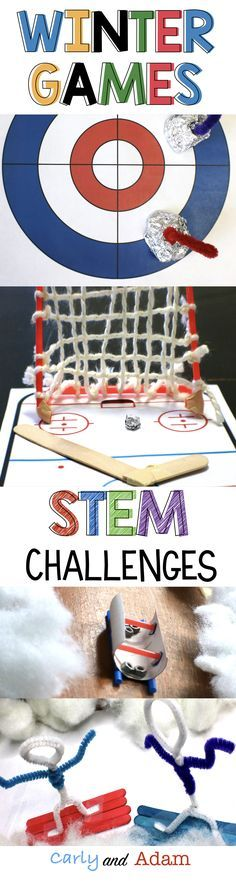 Teach students about the Winter Olympics in a hands on way with STEM! (Winter Olympics Activities) (Curling, Bobsled, Snowboarding, and Hockey)