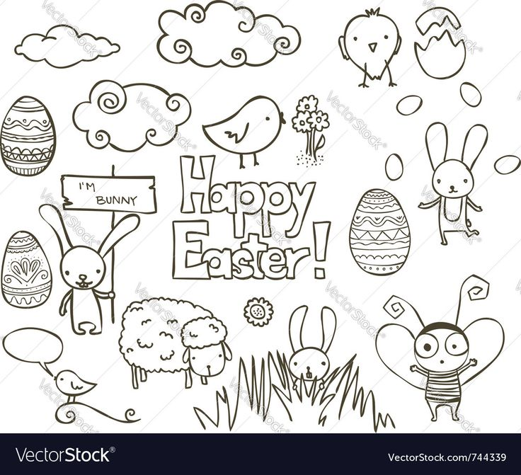 Vector image of Easter doodle Vector Image, includes bird, happy, design, drawing & bubble. Illustrator (.ai), EPS, PDF and JPG image formats.