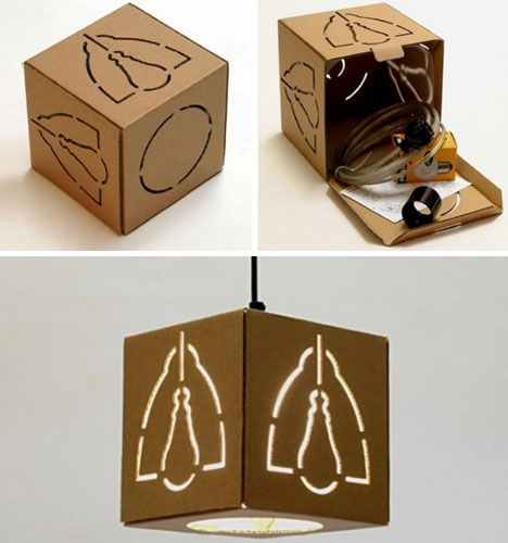 This would be so easy to Knockoff!!!  Creative Cardboard Hanging, Floor & Table Lamp Designs
