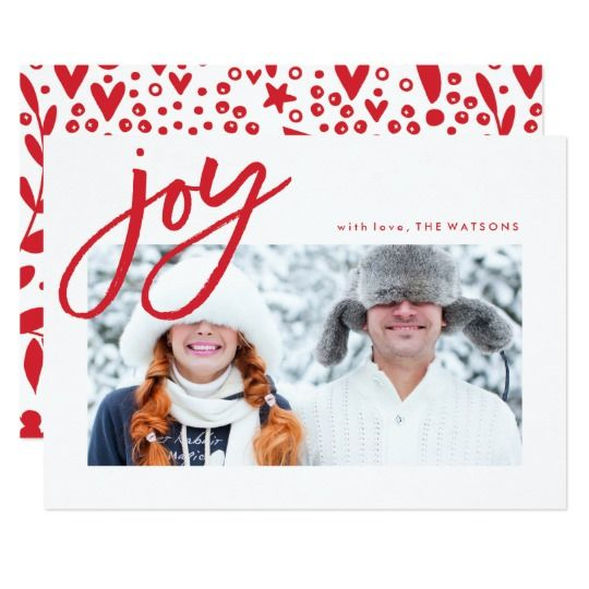 Simple Joy Red and White Holidays Photo Card