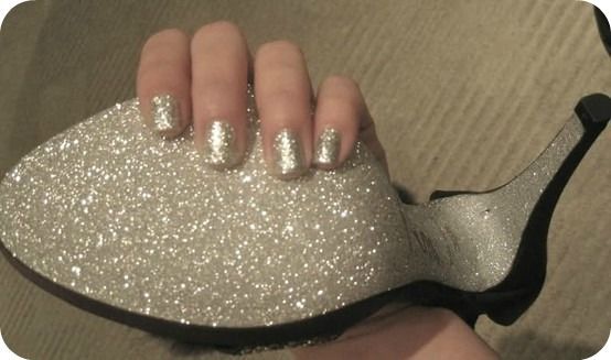 "Glam up shoes with glitter and mod podge.  This would be super cute with blue glitter for the ""something blue"""