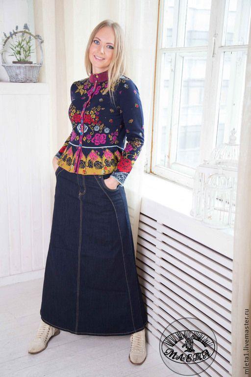 Купить или заказать юбка длинная джинсовая темно-синяя в интернет-магазине на Ярмарке Мастеров. Длинная джинсовая юбка.