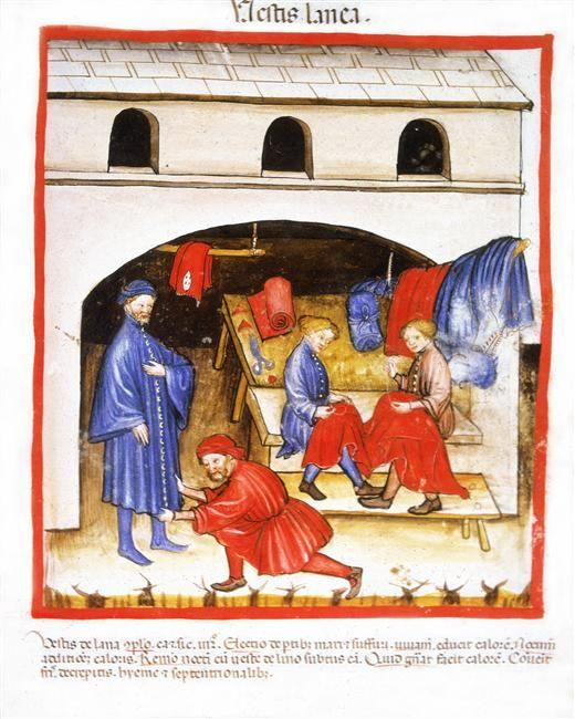 Tacuinum Sanitatis (ÖNB Codex Vindobonensis, series nova 2644), c. 1370-1400: wool clothing (fol. 104v)