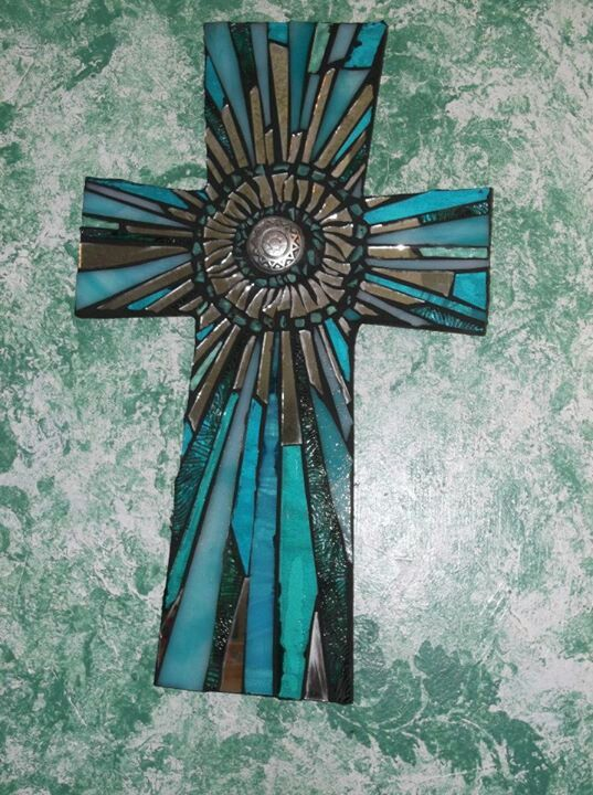 Mosaic Cross by Kathy J. Monti ⊱╮♥ ♥ ⊱╮ | Crosses