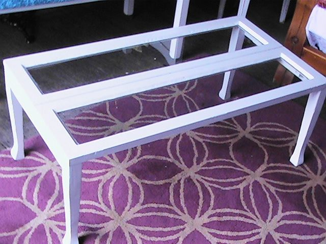 A coffee table made with a window from an old Queenslander.