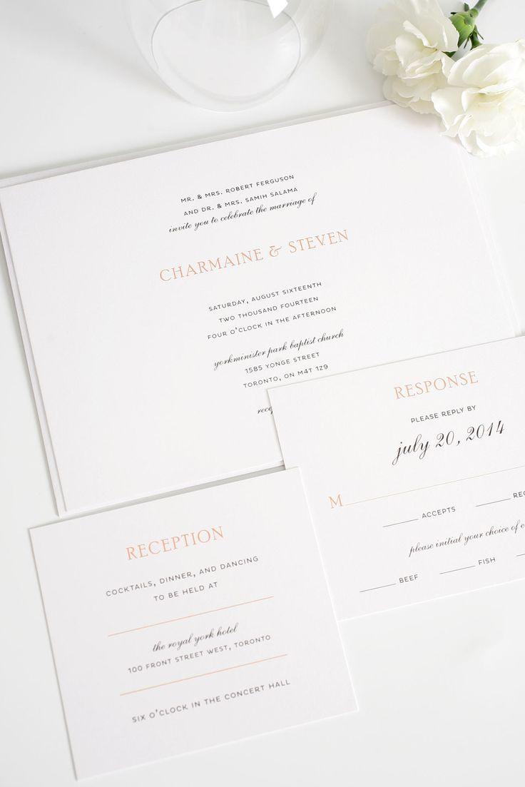 Elegant Peach Wedding Invitations | Shine Wedding Invitations
