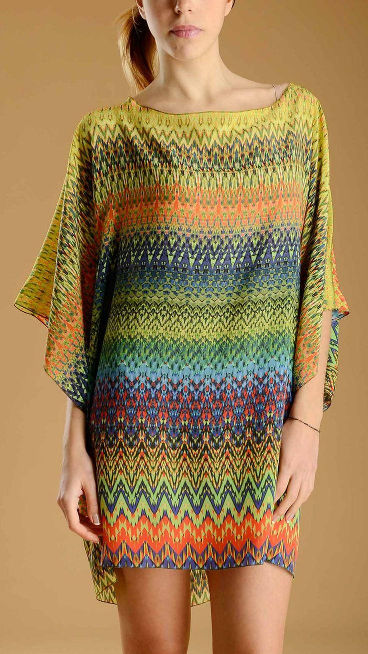 Multicolour Chevron short sleeve Kaftan, string fastening at the back.