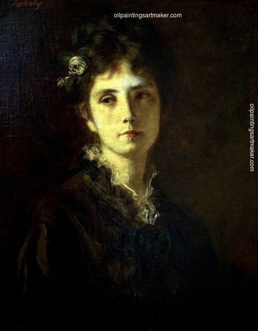 Bertalan Szekely Portrait of Miss Mesterházy, painting Authorized official website