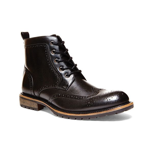 Men's Madden Swavay - Black Synthetic Ankle Boots ($75) ❤ liked on Polyvore  featuring