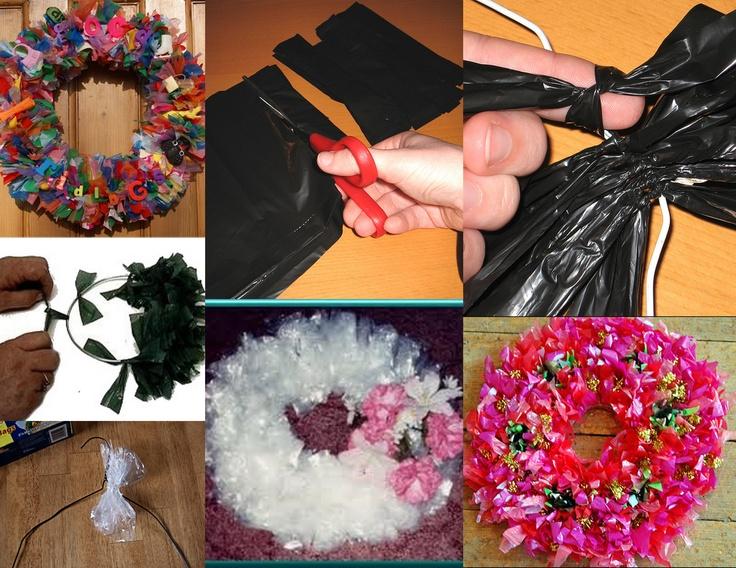 Maak een leuke en goedkope krans met plastic zakjes of tasjes: Wedding, Festive Wreaths, Craft, Wreaths Kransen, De Hobbywinkel, Recycled Plastic Bags, Krans Met, Plastic Zakjes