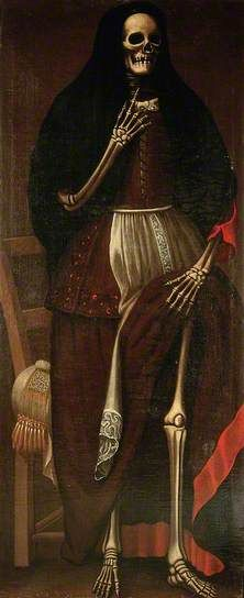 French School or Spanish School -  A Skeleton as a Woman Wearing a Brown and Red Dress and a Black Headdress -   Oil on canvas - c.1680