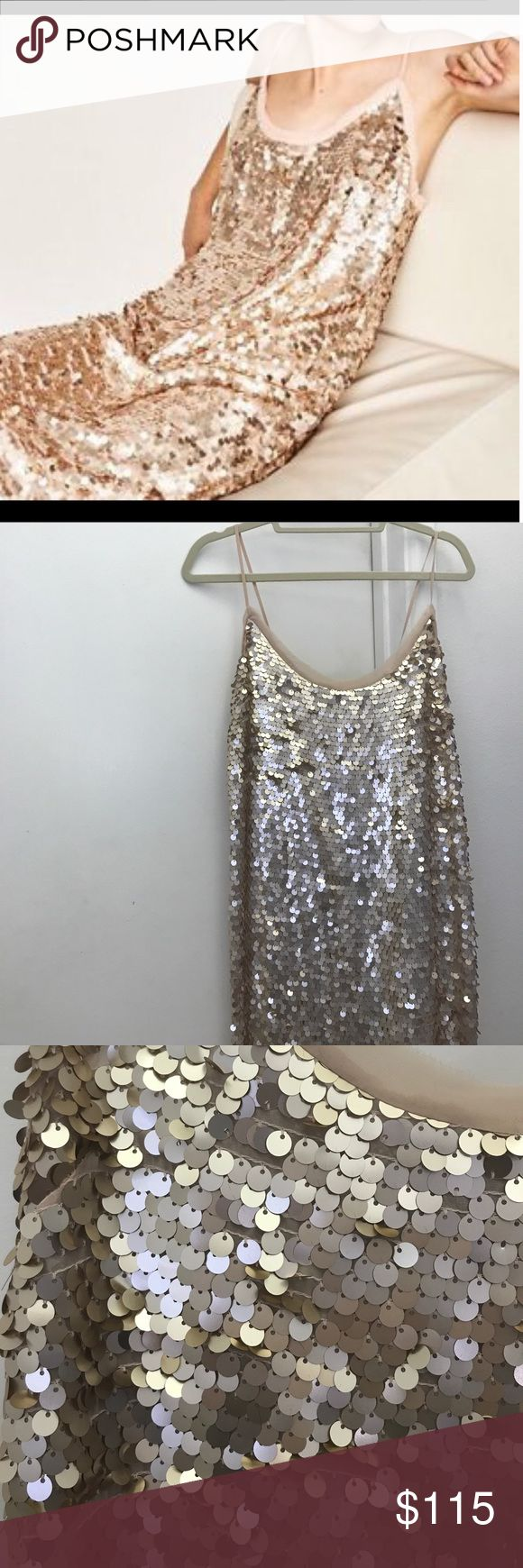 💕HP💕Zara Winter Disco Nude Blush Sequins Dress Gorgeous never worn large sequin dress by zara women for their winter disco collection. Perfect Blush/nude that unfortunately doesn't work on me! neckline to bottom 37 and it is meant to be a looser fit makes it so special. This would be great for a holiday party or w/a turtleneck under it or under my Faux fur sezane coat I have for sale :) you could also wear a sweater over it for a cute skirt. perfect condition don't want to get rid of but…