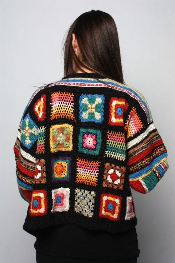 Women's Vintage Hand Knit Granny Square Cardigan by MOUK on Etsy