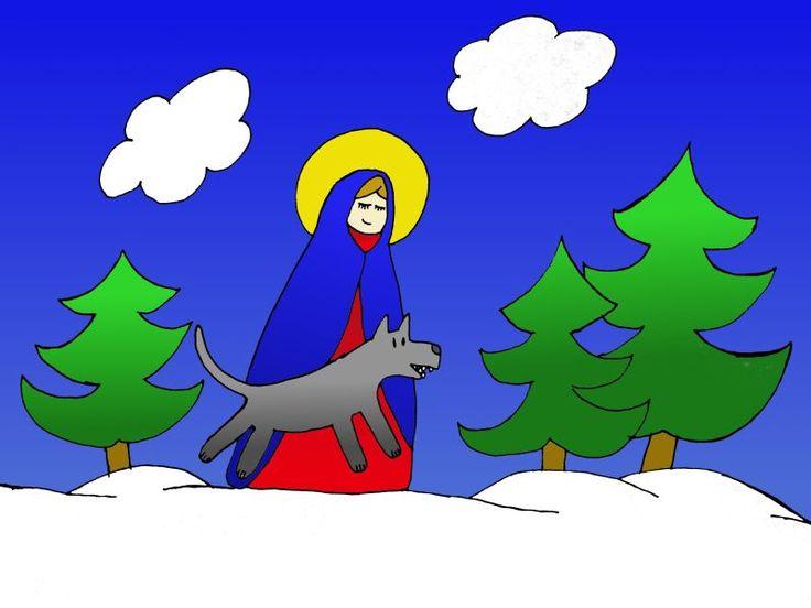 Pewnej mroźnej, lutowej nocy Matka Boska szła przez zaśnieżony las, a jej śladem od dłuższego czasu podążał samotny wilk.  Ponieważ tamtej z...
